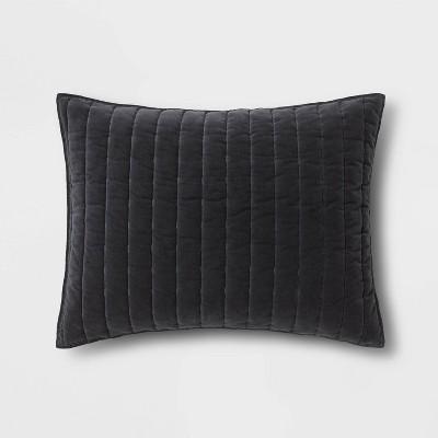 Standard Channel Stitch Velvet Sham Dark Gray - Threshold™