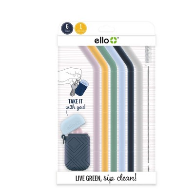 Ello Set of 6 Reusable Silicone Straws with Carrying Case - Spring Florals