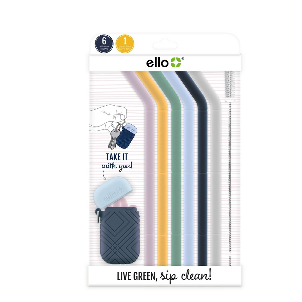 Image of Ello Set of 6 Reusable Silicone Straws with Carrying Case - Spring Florals