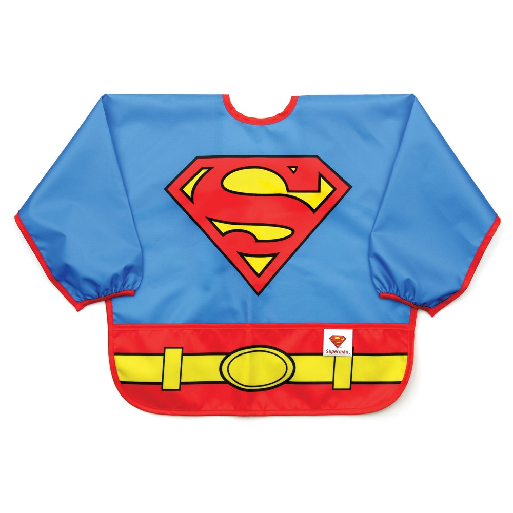 Image of Bumkins DC Comics Costume Sleeved Superman Bib - Blue, Men's, Blue Red Yellow