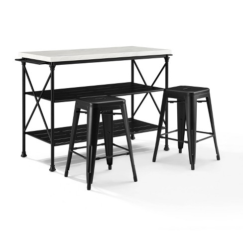 3pc Madeleine Island Dining Set with Amelia Stool Set Matte Black - Crosley - image 1 of 4