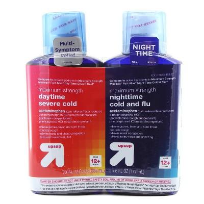 Maximum Strength Daytime & Nighttime Severe Cold & Flu Relief Liquid - 2pk/12 fl oz - up & up™