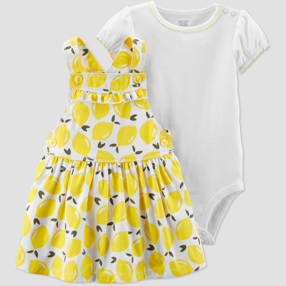 Baby Girls' 2pc Lemons Skirtall Set - Just One You made by carter's Yellow/White 24M