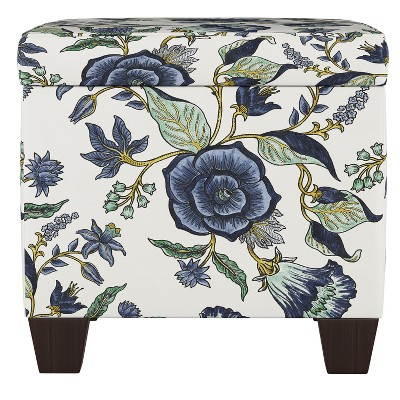 Fairland Square Storage Ottoman Shaded Floral Blue - Threshold™