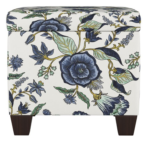 Fairland Square Storage Ottoman Shaded Floral Blue - Threshold™ - image 1 of 4