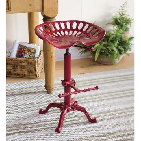 Excellent Vintage Tractor Seat Adjustable Bar Stool Red Plow Hearth Ibusinesslaw Wood Chair Design Ideas Ibusinesslaworg