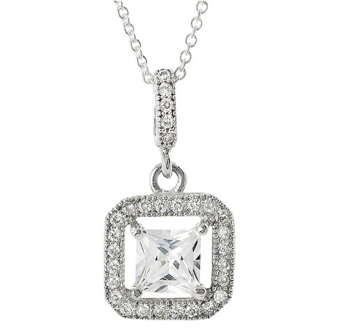 Tressa Collection Cubic Zirconia Square Halo Pendant in Sterling Silver - image 1 of 4