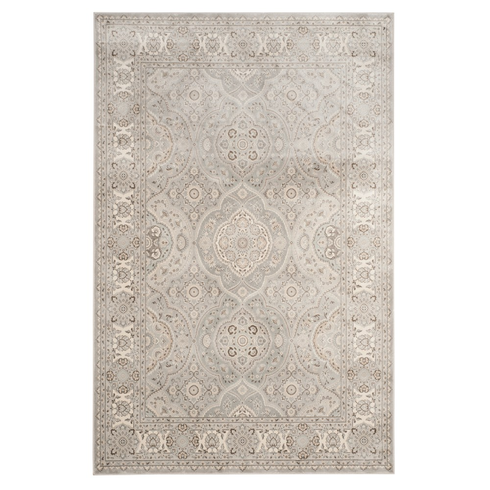 Silver/Ivory Floral Loomed Area Rug 5'1