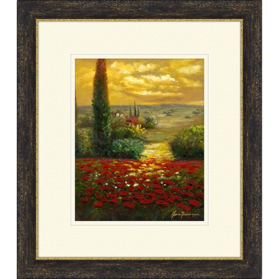 """14.5"""" x 16.5"""" Matted to 2"""" Red Poppies Field Picture Framed Black - PTM Images"""