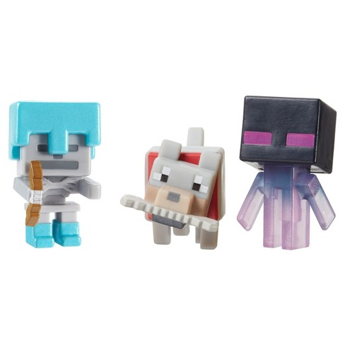 Minecraft Mini Figure - Teleporting Enderman, Wolf with Bone, & Skeleton with Diamond Armor 3pk - image 1 of 3