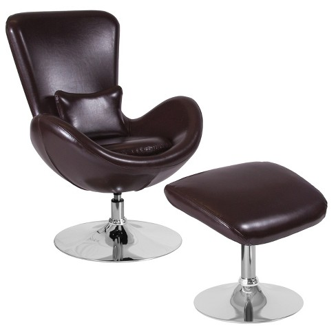Flash Furniture Egg Series Brown, Flash Furniture Reclining Office Chair With Ottoman