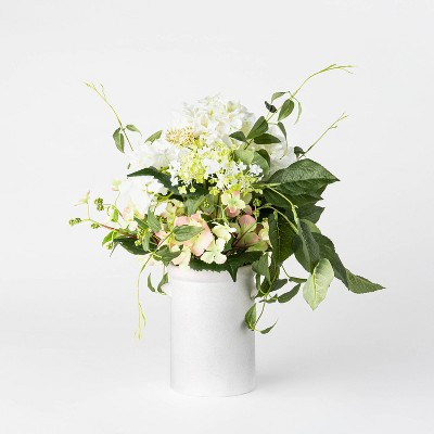 """16.5"""" x 12"""" Artificial Hydrangea & Clematis in Pot White/Green - Threshold™ designed with Studio McGee"""