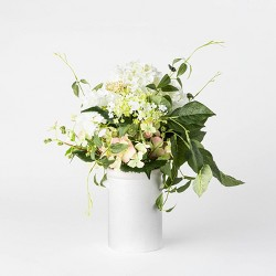 "16.5"" x 12"" Artificial Hydrangea & Clematis in Pot White/Green - Threshold™ designed with Studio McGee"