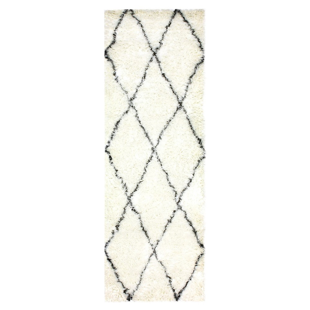 nuLOOM 100% Wool Hand Made Marrakech Shag Runner - Off-White (2' 6 x 8'), Ivory