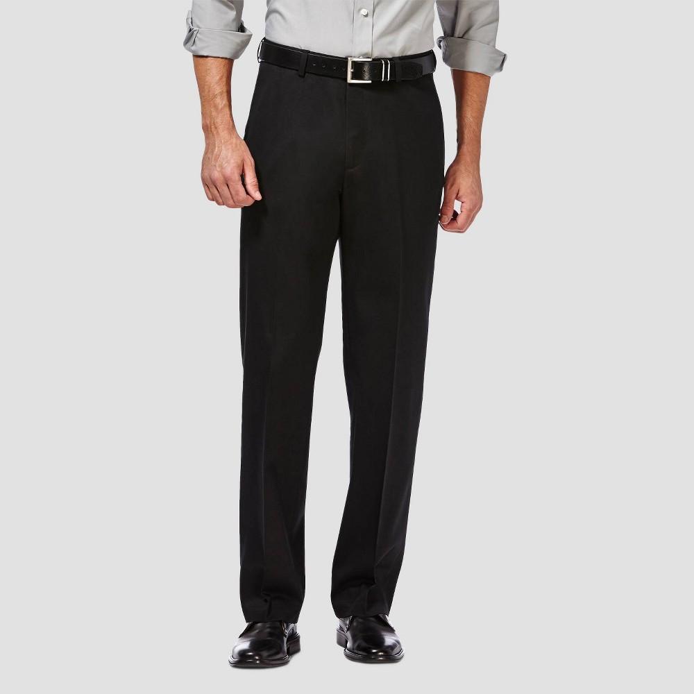 Haggar Men 39 S Premium No Iron Classic Fit Flat Front Casual Pants Black 36x30