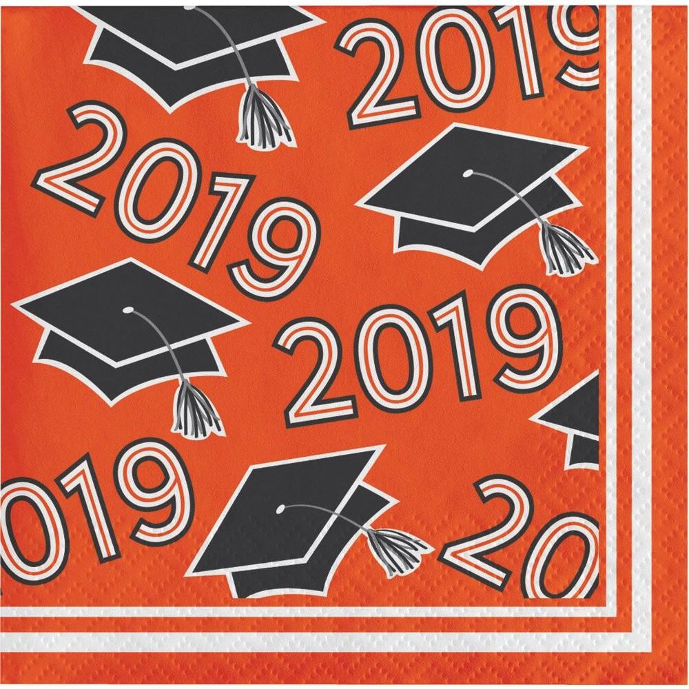 Image of 108ct Graduation School Spirit Disposable Napkins Orange