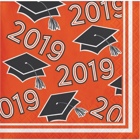 108ct Graduation School Spirit Disposable Napkins Orange - image 1 of 1