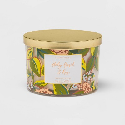 15oz Lidded Glass Jar Front Label Rose and Leaf Pattern 3-Wick Candle Holy Basil and Rose - Opalhouse™