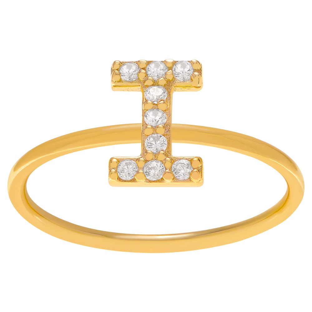 1/6 CT. T.W. Round-cut CZ Initial I Pave Set Ring in Sterling Silver - Gold, 8, Girl's, Gold Letter I