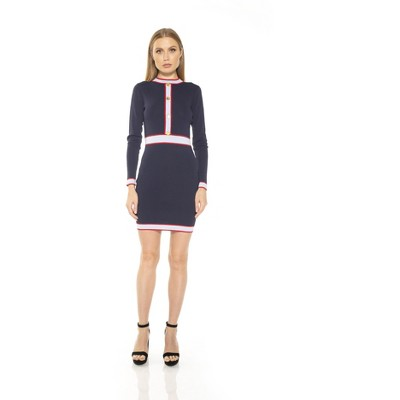 Alexia Admor Betty Long Sleeve Button Colorblock Knit Dress