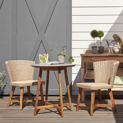 Staton 3pc Wood Patio Bistro Set - Tan - Smith & Hawken™