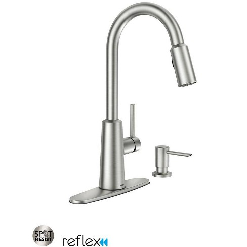 Moen 87066 Nori Pullout Spray High-Arc Kitchen Faucet with Soap Dispenser  and Reflex Technology - Spot Resist