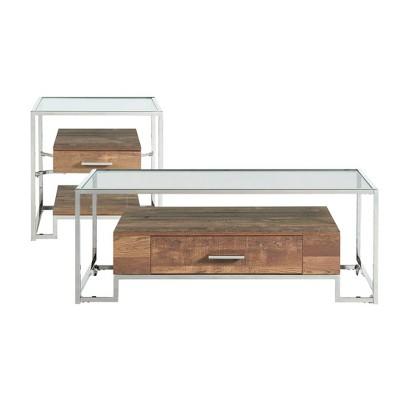 2pc Hampton Occasional Table Set Light Walnut/Chrome - Picket House Furnishings