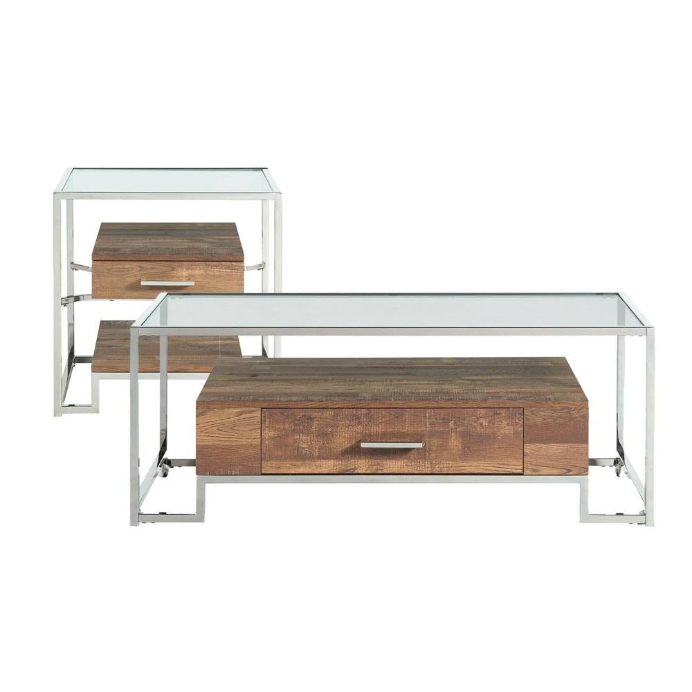 Image of 2pc Hampton Occasional Table Set Light Walnut/Chrome - Picket House Furnishings
