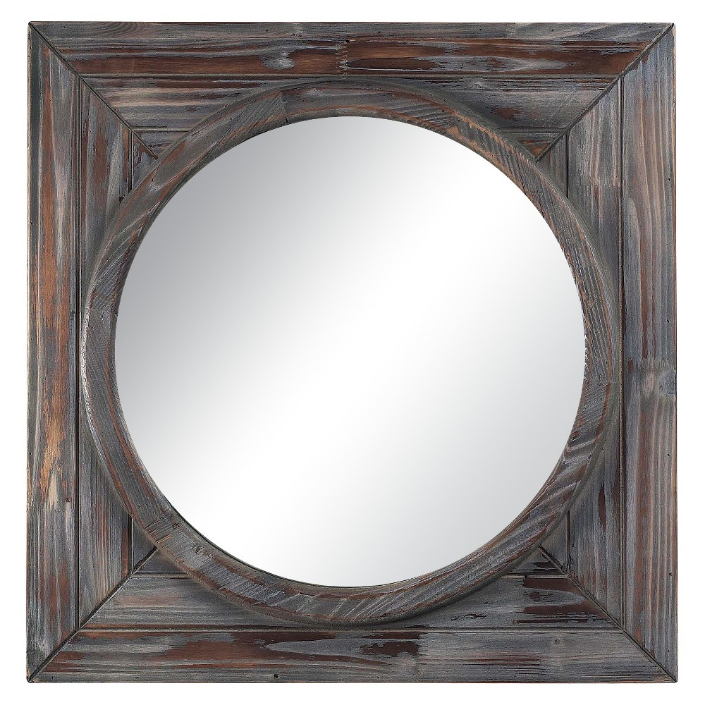 Image of Square Reclaimed Wood Decorative Wall Mirror - Lazy Susan, Brown