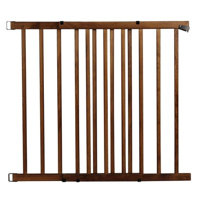 Evenflo 1051610 32 Inch Tall 48 Inch Wide Top of Stairs Farmhouse One Hand Operable Latch Walk Thru Baby and Pet Safety Gate, Brown
