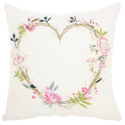 Life Styles Embroidered Heart Square Throw Pillow Mina Victory Target