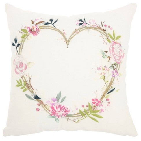 Life Styles Embroidered Heart Square Throw Pillow - Mina Victory - image 1 of 4
