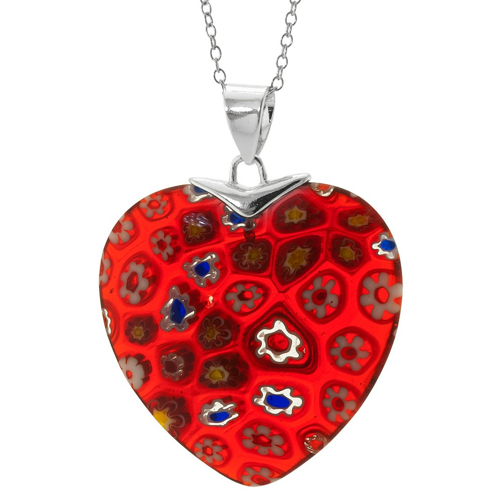 Target Silver Plated Glass Heart Pendant - Red, Women's