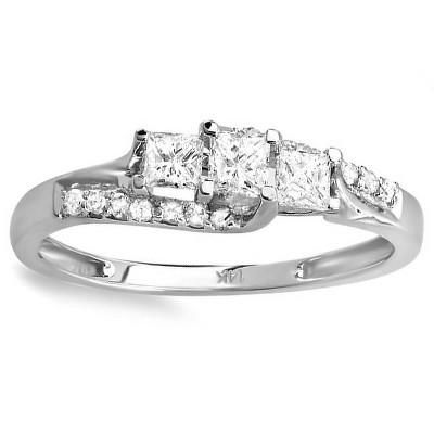 Pompeii3 1/2ct Princess Cut Diamond 3 Stone Engagement Ring 10K White Gold