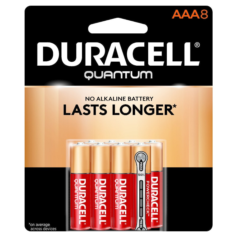 Duracell Quantum Aaa Batteries - 8 ct Get the power you need from the batteries you trust by using Duracell Quantum Aaa Batteries. With this 8-pack, it's easy to have extra batteries on hand to keep remotes, flashlights and other essential electronics up and running. Stock up on these powerful Aaa batteries and know that the Duralock Power Preserve technology will keep the batteries charged at peak performance, even after years of storage.