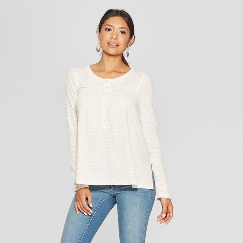 Women's Long Sleeve V-Neck Front Button-Down Blouse - Knox Rose™ Oatmeal XXL - image 1 of 2