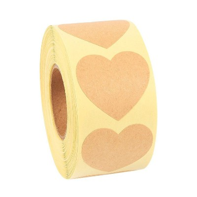 """Best Paper Greetings Adhesive Heart Stickers Roll Heart Shape Labels for Scrapbooking, Crafting, Party Favors, Kraft Paper, Brown, 1.5"""", 500-Piece"""