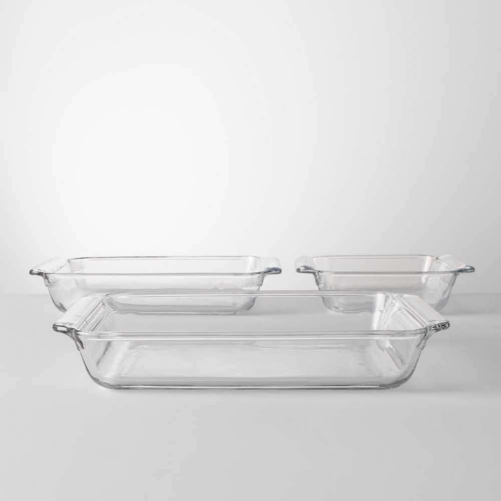 Image of 3pc Value Pack Glass Bakeware Set - Made By Design , Clear