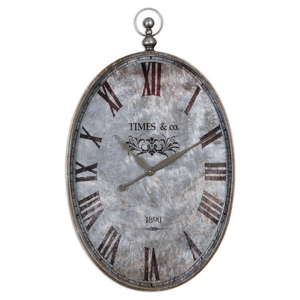 Argento Antique Pocket Watch Wall Clock Silver - Uttermost