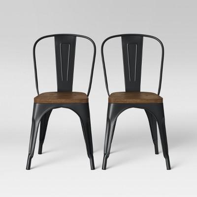 Set of 2 Carlisle High Back Wood Seat Dining Chair Wood/Matte Black - Threshold™