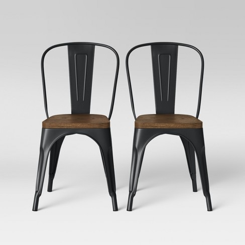 a561748fc0a3 Set Of 2 Carlisle High Back Wood Seat Dining Chair Matte Black - Threshold™  : Target