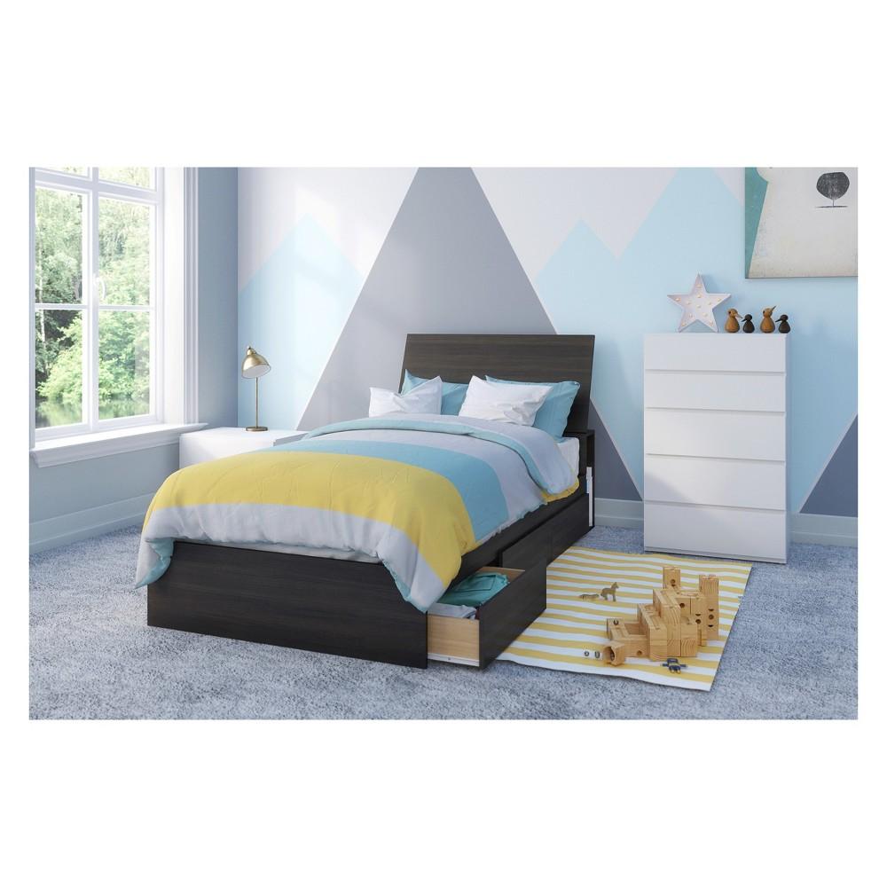 Iris 4pc Bedroom Set Twin Black White Nexera