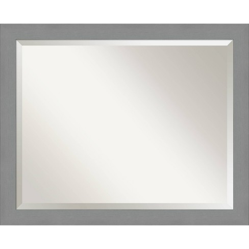 32 X 26 Brushed Nickel Framed Bathroom Vanity Wall Mirror Amanti Art Target