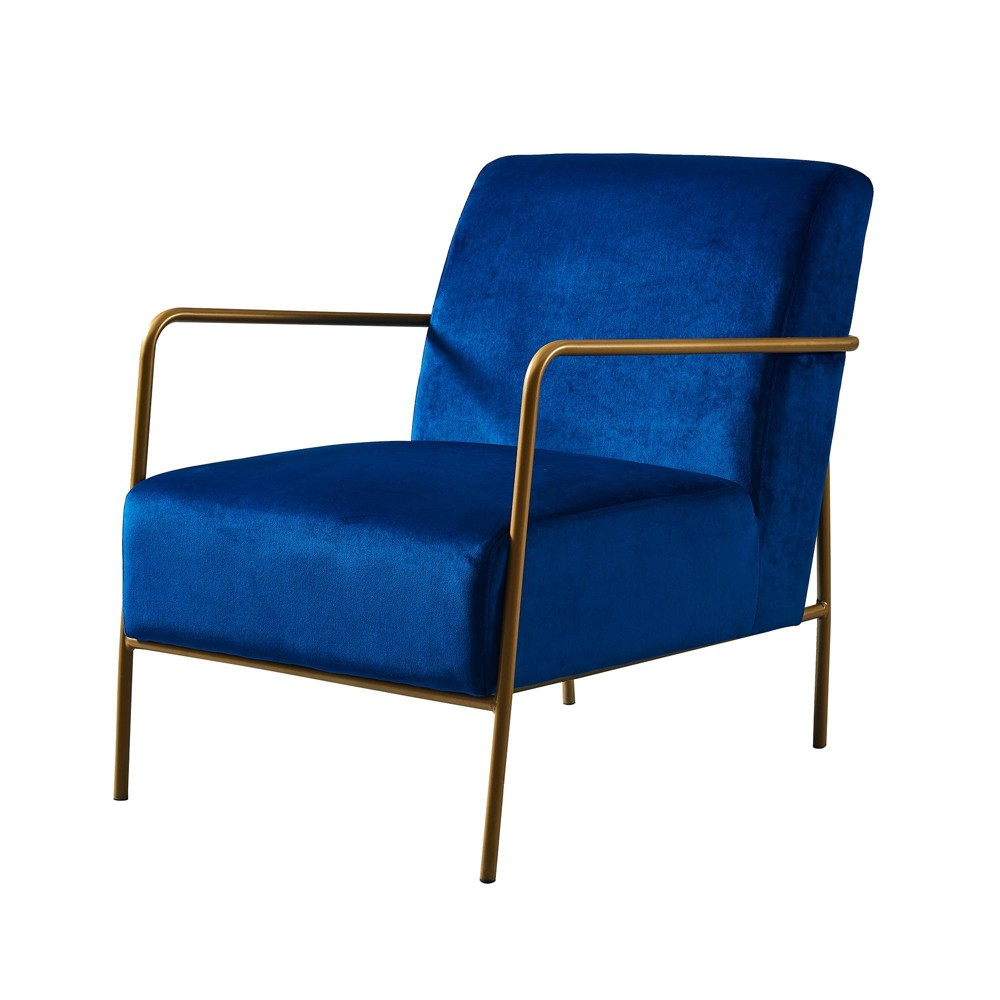 Image of Chelsea Armchair with Metal Leg Navy Fabric/Gold Finish - Versanora