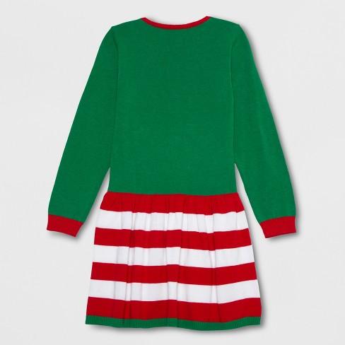 c0083560cc9e Well Worn Girls' Elf Sweater Dress - Green/Red XXL... : Target