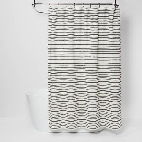 Striped Shower Curtain Black White