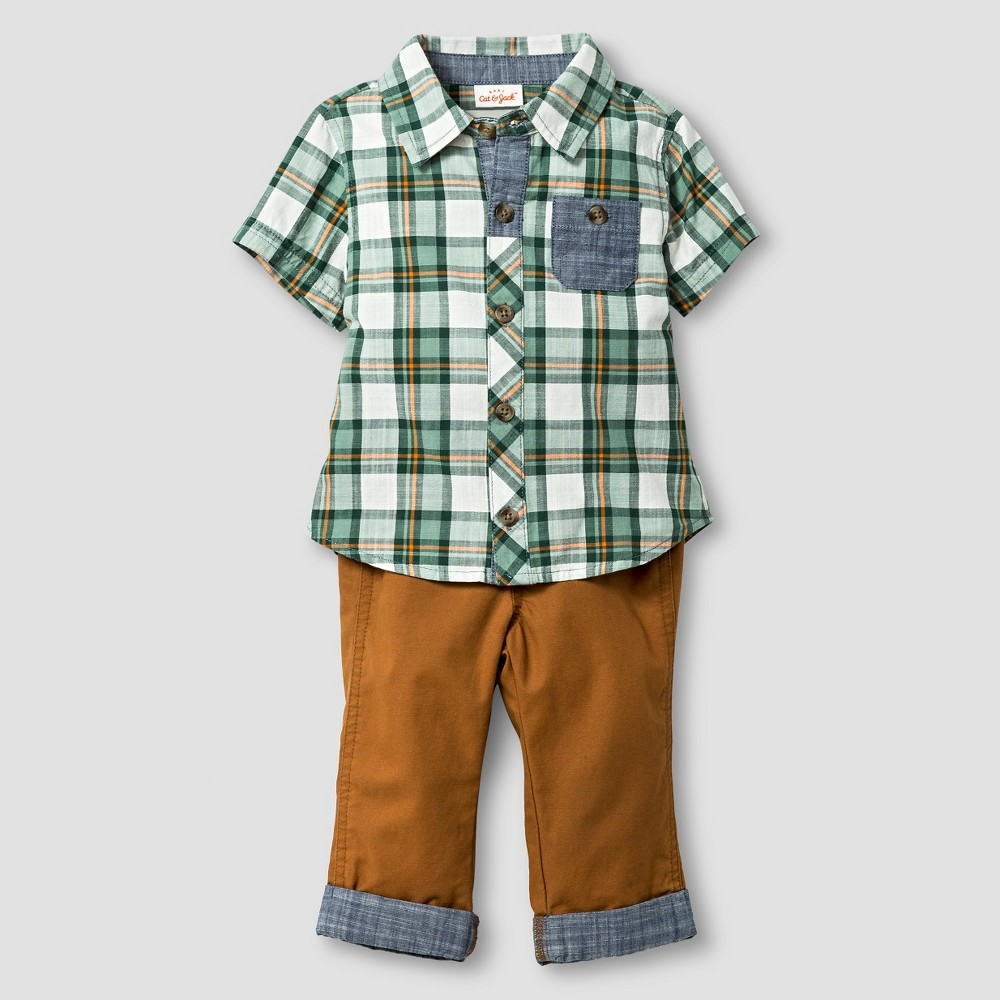 Baby Boys' Short Sleeve Plaid Top and Pants - Cat & Jack Green/Toffee 3-6M