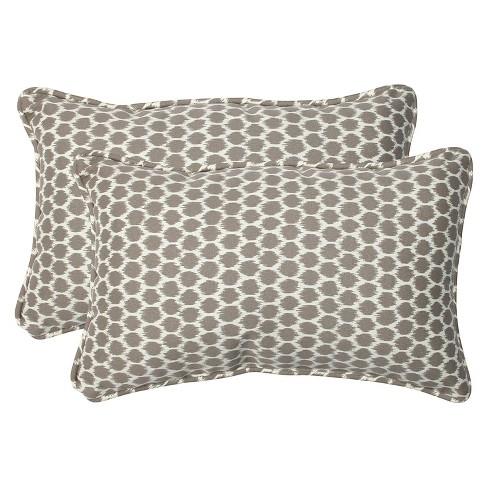 2pc Rectangular Outdoor Decorative Throw Pillow Set Ikat Pillow