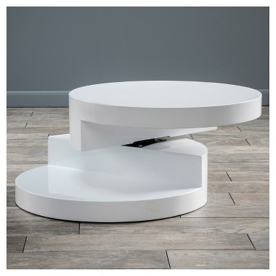 Osto Small Oval Rotatable Coffee Table Glossy White   Christopher Knight  Home : Target