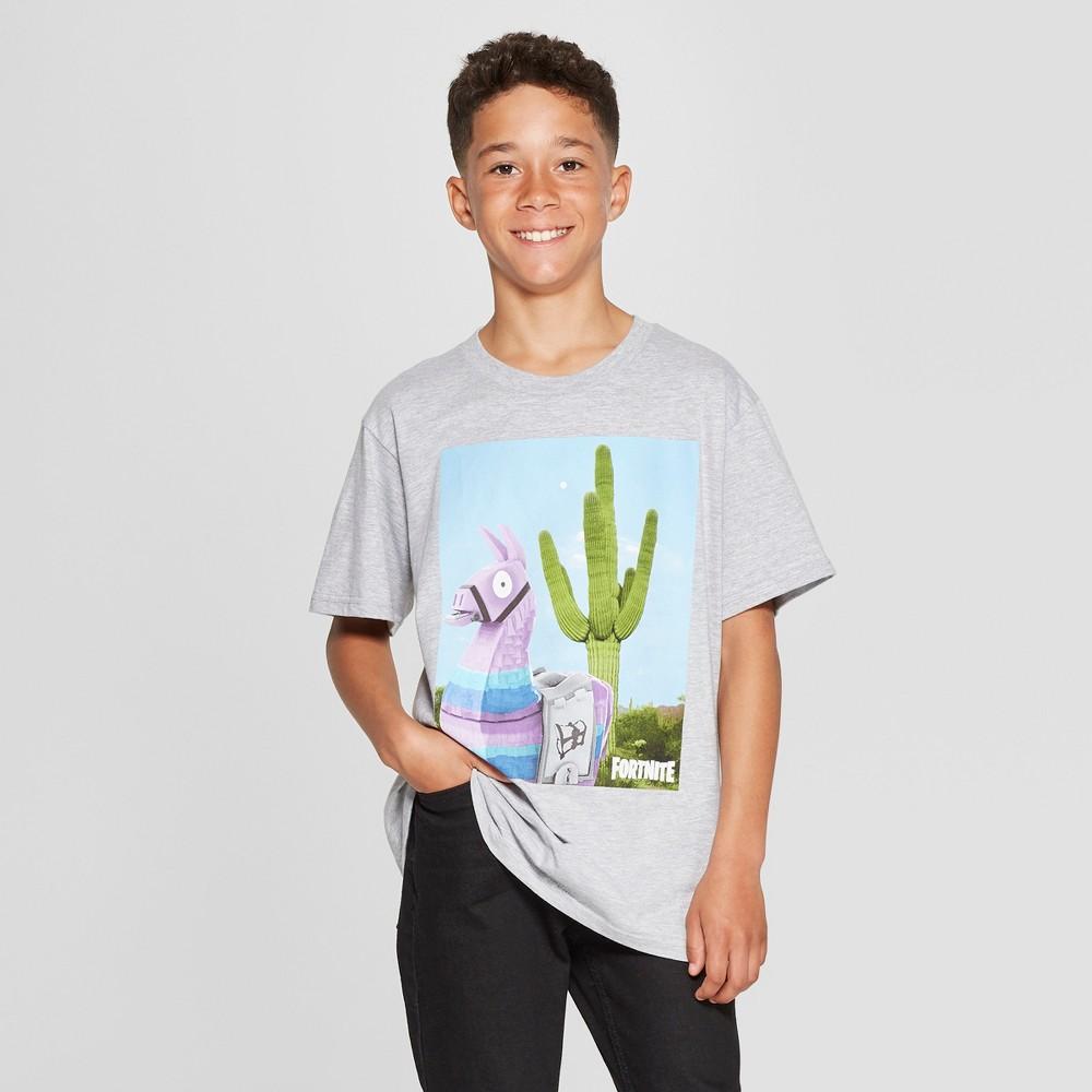 Boys' Fortnite Loot Llama Cactus Short Sleeve T-Shirt - Heather Gray XS